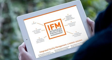 Integrated Facilities Management Overview Brochure on a tablet computer.